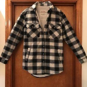 Sherpa-Lined Plaid Shirt/Jacket
